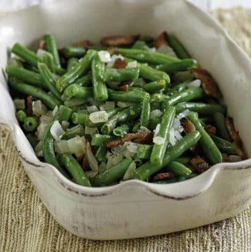 Homemade Cracker Barrel Green Beans in a serving dish