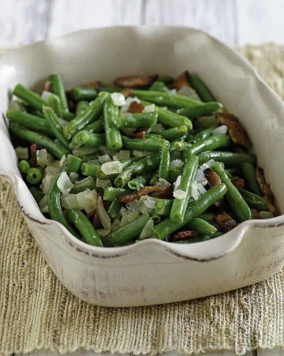 Homemade Cracker Barrel Green Beans in a serving dish