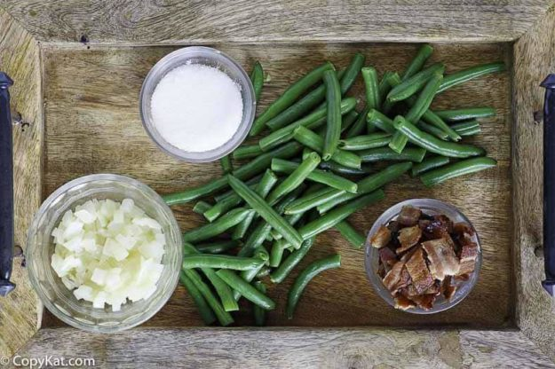Ingredients for the Cracker Barrel Green Beans copycat recipe.