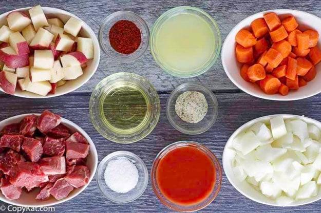Ingredients to make Beef Stew Instant Pot Recipe.