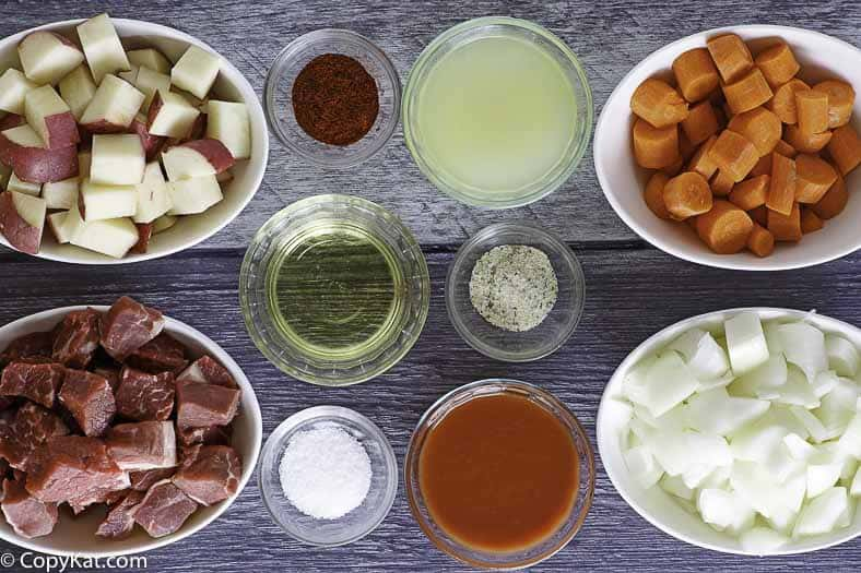 Ingredients to make Beef Stew Instant Pot Recipe.