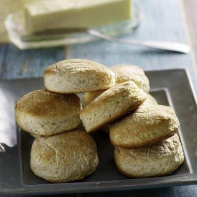 a plate of homemade Cracker Barrel buttermilk biscuits