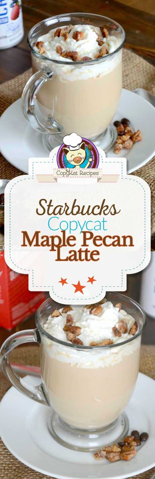 You can recreate you own version of the copycat Starbucks Maple Pecan Latte at home with this easy recipe.   #copycat #coffee #starbucks #latte