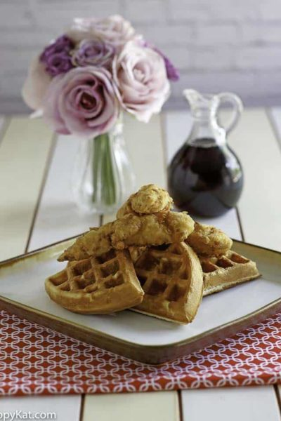 Enjoy these copycat Grand Lux Cafe Chicken N Waffles today with this copycat recipe. #copycat #copycatrecipe #chicken #chickennwaffles #waffles #grandluxcafe