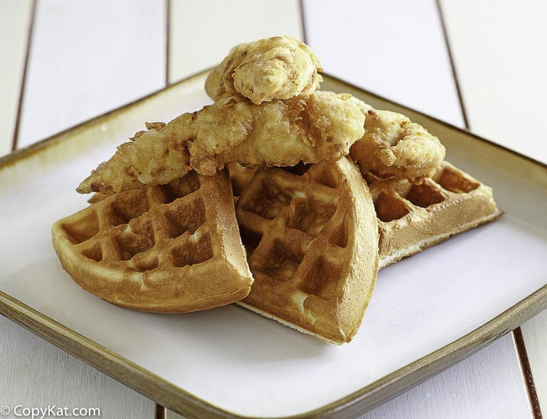 chicken tenders on top of waffles