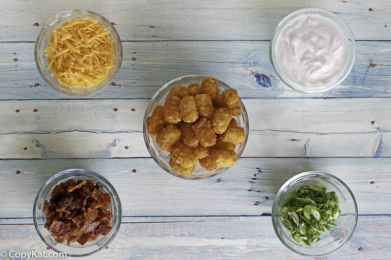 Ingredients needed for James Coney Island Baked Tots.  You are going to love this copycat recipe.