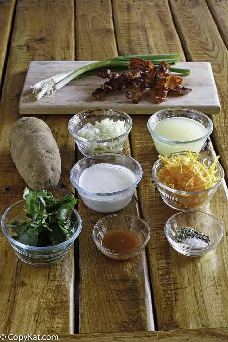 Ingredients for the Hard Rock Cafe Baked Potato Soup copycat recipe.