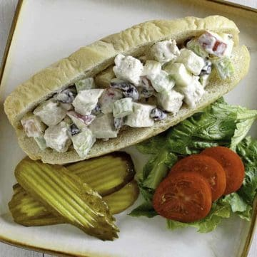 orchard chicken salad sub sandwich on a plate