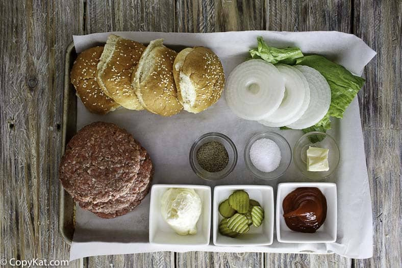 Hamburger ingredients on a tray
