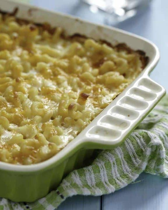 Homemade Sweetie Pie's baked Macaroni and Cheese in a baking dish