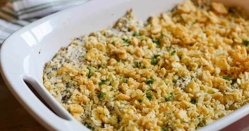 Poppy seed chicken casserole in a baking dish