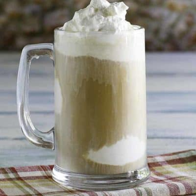 Homemade Chick-fil-A Frosted Coffee in a tall glass mug.