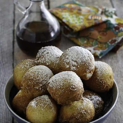 Make Denny's Pancake Puppies at home in no time at all. Serve with maple syrup, powdered sugar, even cream cheese frosting