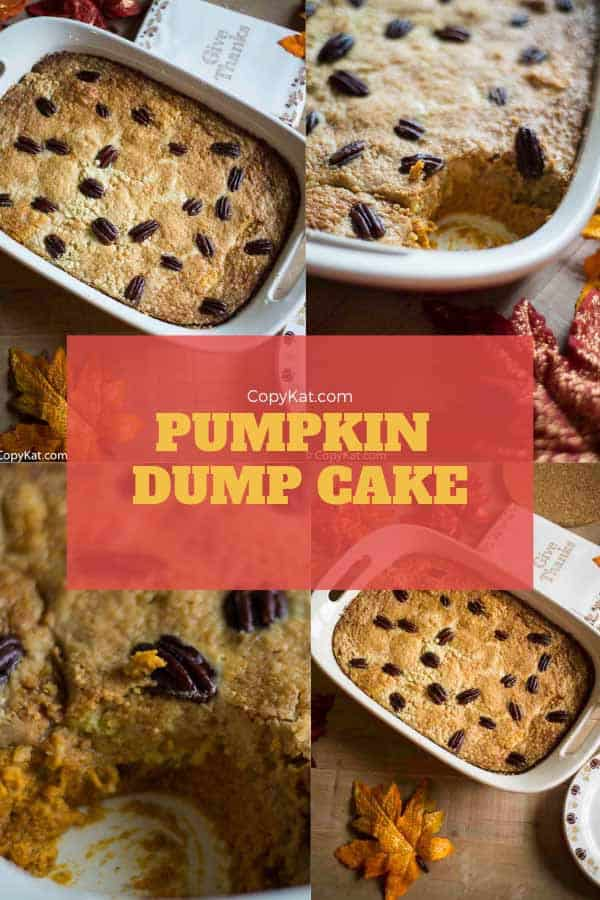 Pumpkin Dump Cake is easy to make, love pumpkin pie and cake?  Now you don't have to decide, make them both!