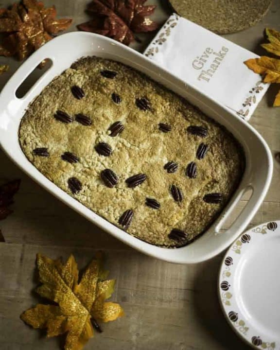 Pumpkin Dump Cake in a white baking dish.