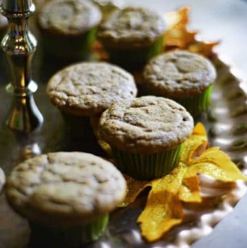 Pumpkin spice muffins on a platter.