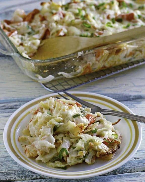 Homemade copycat Chinese Buffet Seafood Delight Bake crab casserole on a plate.