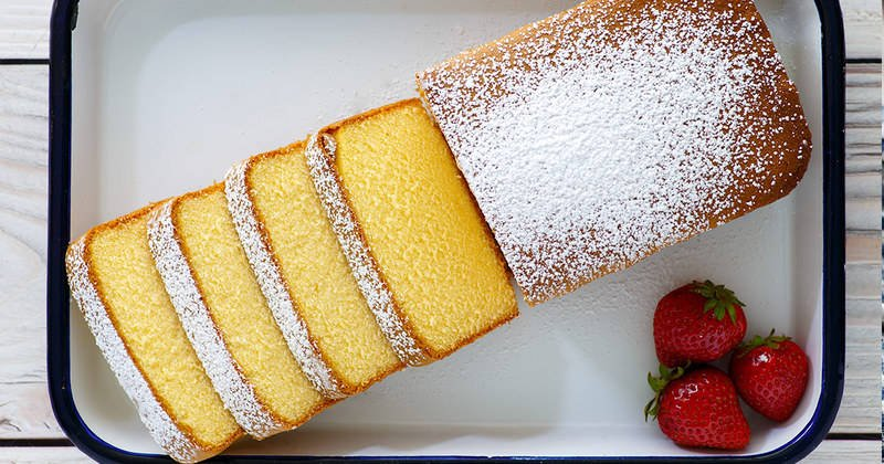 Homemade copycat Sara Lee Pound Cake in a serving dish.