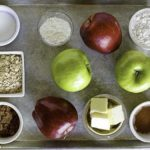 Ingredients for a homemade apple crisp.