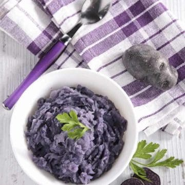 a bowl of purple mashed potatoes