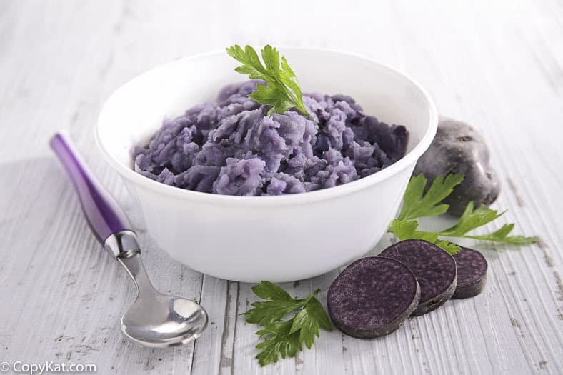 Mashed potatoes made with purple potatoes.