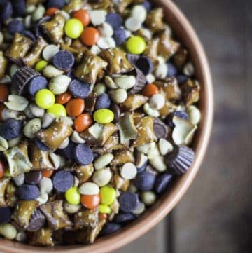 A bowl of peanut butter lovers Reeses snack mix