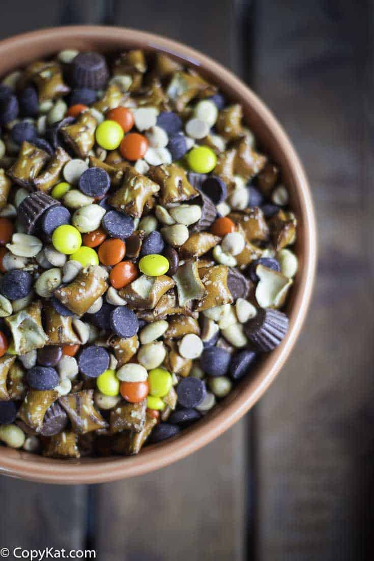 Bowl of Reeses Peanut Butter Lovers Snack Mix