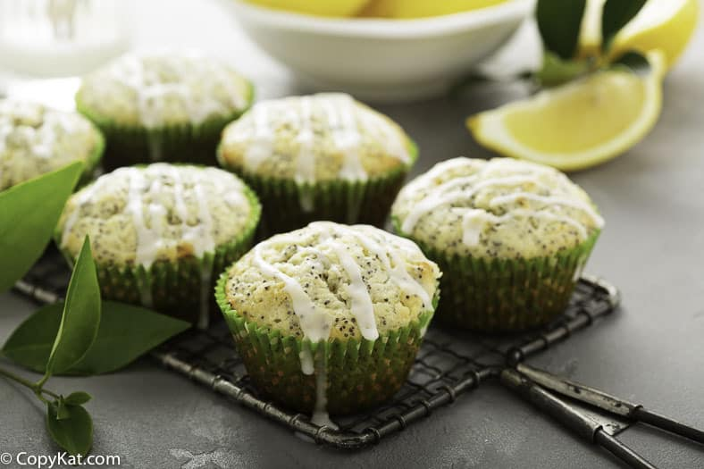 six lemon poppy seed muffins