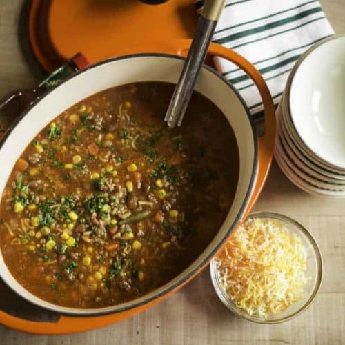 Enjoy easy to make Cowboy Soup. Made with ground beef, corn, vegetables, and more.