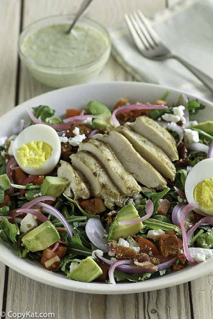 Copycat Panera Bread Green Goddess Cobb Salad in a white bowl