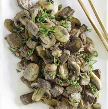 Homemade Benihana Hibatchi Steak and mushrooms on a platter