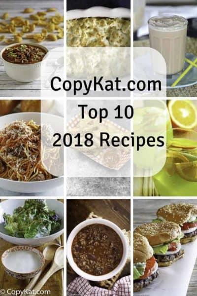 Top New Copycat recipes in 2018 from CopyKat.com.