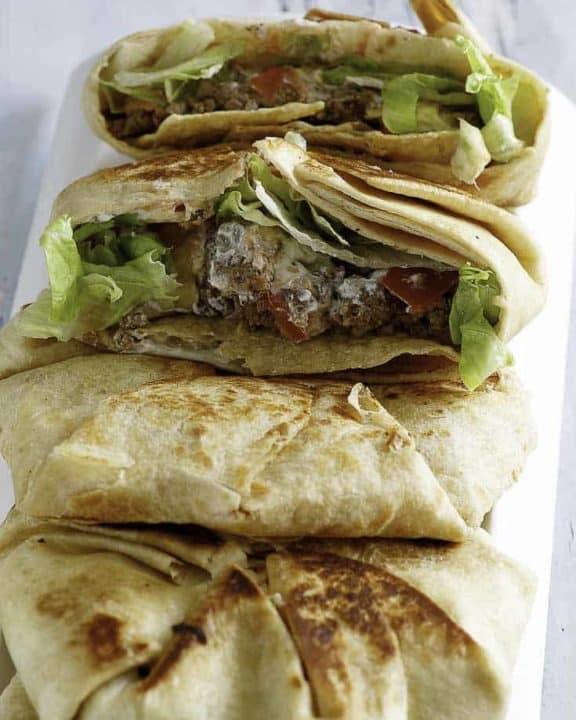 4 homemade Taco Bell Crunchwrap Supremes