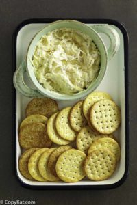 Homemade Kroger Jarlsberg dip and crackers.