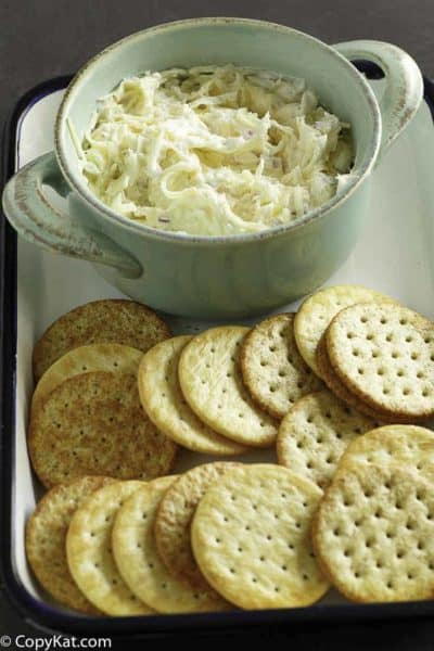 Homemade copycat Kroger Jarlsberg dip and crackers.