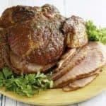 Homemade Honeybaked ham on a platter