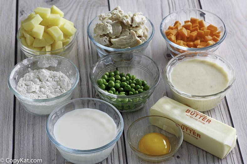 The ingredients you will need to prepare the famous KFC Pot Pie at home.
