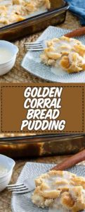 two plates of bread pudding with a creamy sauce