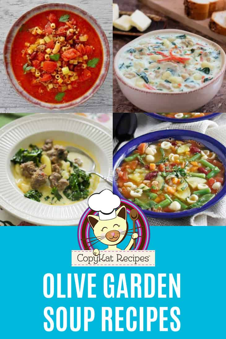 Collage of homemade Olive Garden soups
