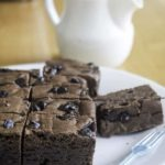 Brownies made with Bisquick mix and chocolate chips.