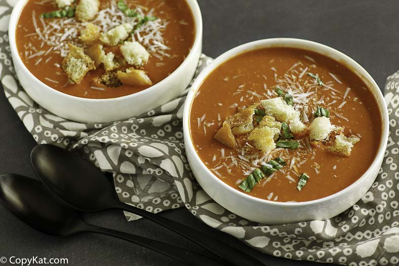 Two bowls of copycat Panera Bread Creamy Tomato Soup