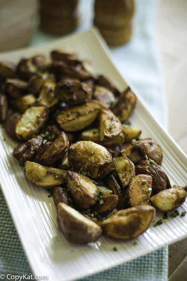 Roasted Red Potatoes on a seving plate.