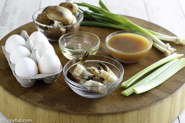 Common ingredients to make egg foo young at home.
