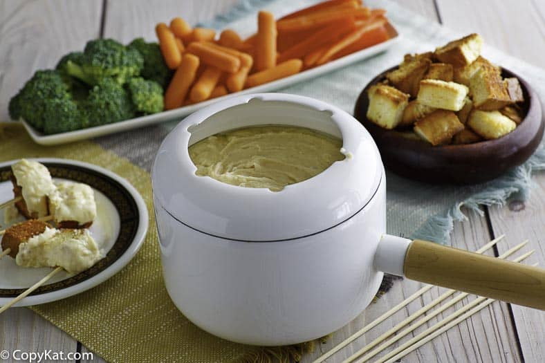 Traditional Swiss cheese fondue with assorted dippers