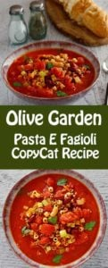 Collage of homemade Olive Garden Pasta E Fagioli soup photos.