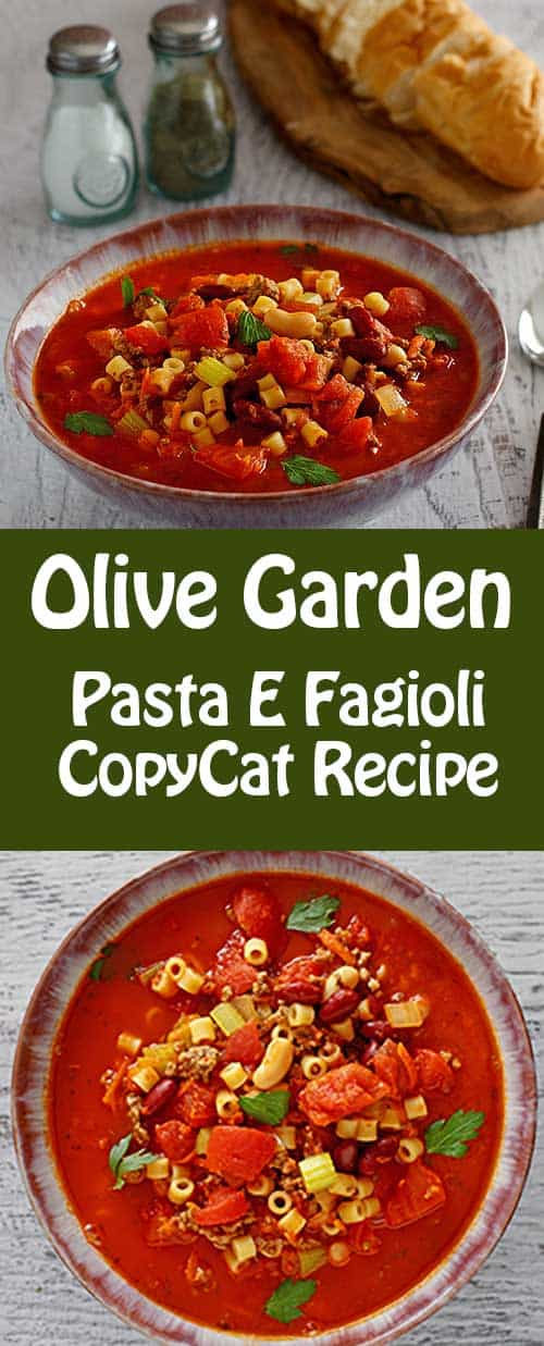 Copycat Soup recipe for the Olive Garden Pasta E Fagioli.
