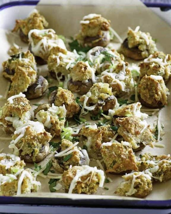 Homemade Olive Garden stuffed mushrooms in a serving dish.