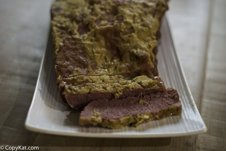 Corned beef baked with Dijon mustard and brown sugar