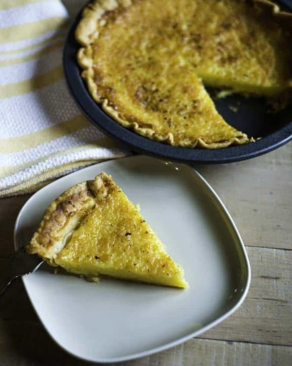 homemade buttermilk pie, and a plate of a slide of buttermilk pie