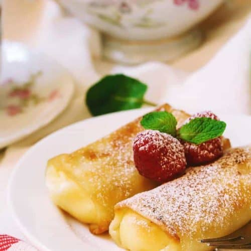 Cheese Blintz on a plate